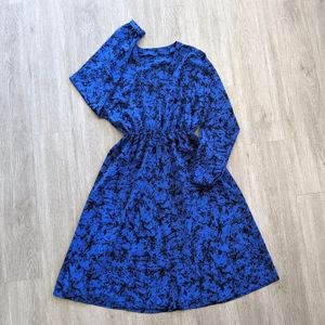 VTG Women's Home-made Blue&Black Print Dress SZ M